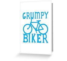 GRUMPY BIKER in blue Greeting Card