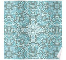 Soft Teal Blue & Grey hand drawn floral pattern Poster