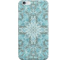 Soft Teal Blue & Grey hand drawn floral pattern iPhone Case/Skin