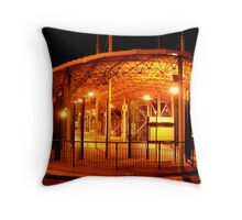 Bus Station at Night Throw Pillow