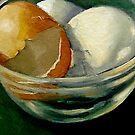 CRACKED EGGS IN GLASS DISH by Joyce
