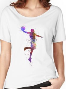 young man basketball player one hand slam dunk Women's Relaxed Fit T-Shirt