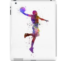 young man basketball player one hand slam dunk iPad Case/Skin