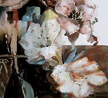 Pink Amaryllis Original Watercolor Painting Still Life by lily pang