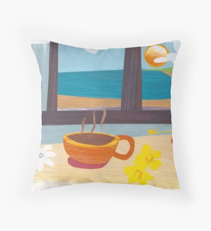 Tahitian Cafe' - Collage. Throw Pillow