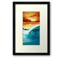 Blue Wave Sunset Framed Print