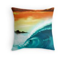 Blue Wave Sunset Throw Pillow