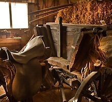 Old style agricultural tools in a wooden shed. by PhotoStock-Isra