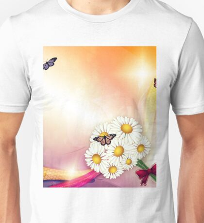 Camomiles and butterfly Unisex T-Shirt