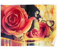 Card with rose and pendant 2 Poster