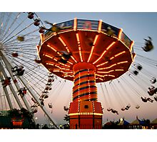 Swing Ride Lit Up On Navy Pier Photographic Print
