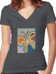 Blue and Yellow Abstract Butterfly Women's Fitted V-Neck T-Shirt