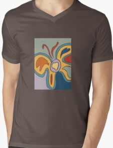 Blue and Yellow Abstract Butterfly Mens V-Neck T-Shirt