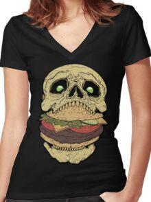 Skullburger Women's Fitted V-Neck T-Shirt