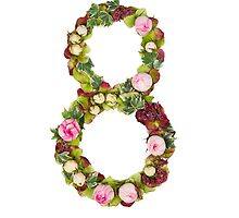 The number Eight Part of a set of letters, Numbers and symbols of the Alphabet made with flowers by PhotoStock-Isra