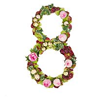The number Eight Part of a set of letters, Numbers and symbols of the Alphabet made with flowers Photographic Print