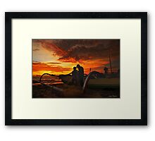 The Fishermen At Sunset Framed Print