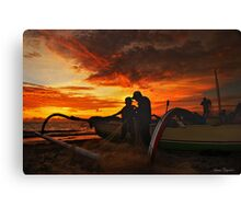 The Fishermen At Sunset Canvas Print