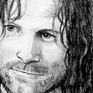 ACEO/SKETCH CARD: Aragorn Strider by Joyce