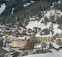 Swiss Winter Village Scene by Alec Owen-Evans