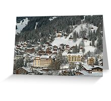 Swiss Winter Village Scene Greeting Card