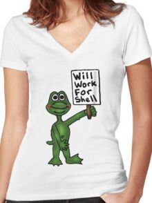 Will Work for Shell Women's Fitted V-Neck T-Shirt