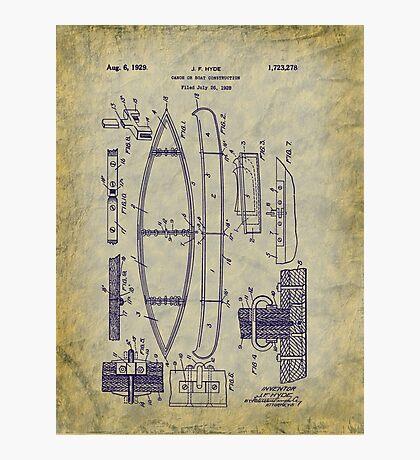 1929 Canoe Construction Patent Art Photographic Print