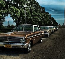 Vintage Ford Falcons at Liberty Memorial Monument Kansas City Missouri by TeeMack