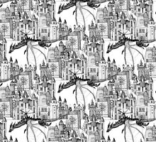 Dragon Kingdom Winter Toile white by Sharon Turner