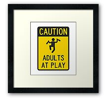 Caution Adults at Play Framed Print