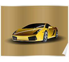 Realistic Lamborghini Yellow Poster