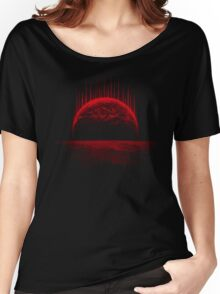 Lost Home! Colosal Future Sci-Fi Deep Space Scene in diabolic Red Women's Relaxed Fit T-Shirt