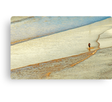 """Shore Surfing, skim surfing on the shallow waves on the beach at """"Avila Beach"""" California Canvas Print"""