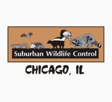 Suburban Wildlife Control - Chicago, IL tee - Orange box version Kids Tee
