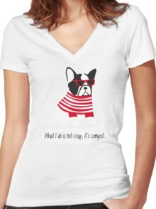 Hipster French bulldog Women's Fitted V-Neck T-Shirt