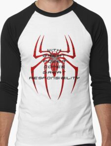 Spiderman- with great power comes great responsibility Men's Baseball ¾ T-Shirt