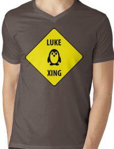 Luke XING (Crossing Sign) -Penguin Mens V-Neck T-Shirt
