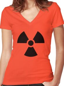Nuclear bomb danger funny sign Women's Fitted V-Neck T-Shirt