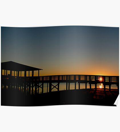 Biloxi Pier Sunset Poster