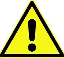 Warning sign. Exclamation mark in yellow triangle. by 2monthsoff