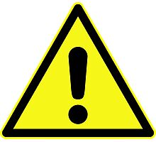 Warning sign. Exclamation mark in yellow triangle. Photographic Print