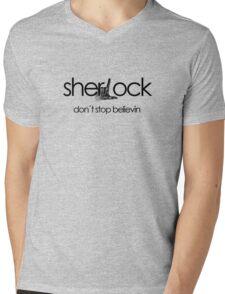 Don't Stop Believin... Sherlock! Mens V-Neck T-Shirt