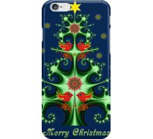 Decorative Fractal Christmas tree with snowflakes, birds & folk horses iPhone Case/Skin
