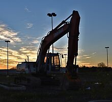 Excavator at Sunset by Eric Geissinger