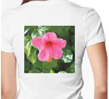 PINK HIBISCUS OPEN TO THE SUN Womens Fitted T-Shirt