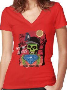 Paid In Gold Skull Women's Fitted V-Neck T-Shirt