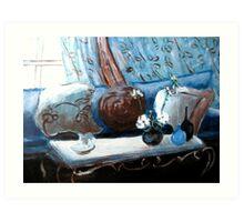 Blue Living Room Flower Original Acrylic Painting Art Print