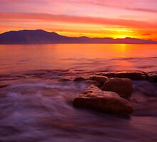 across Derwent River to Hobart city by Michael Walters