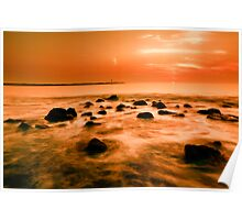 ocean and sunset Poster