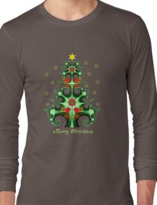 Swirly Christmas tree, snowflakes, birds and text design Long Sleeve T-Shirt